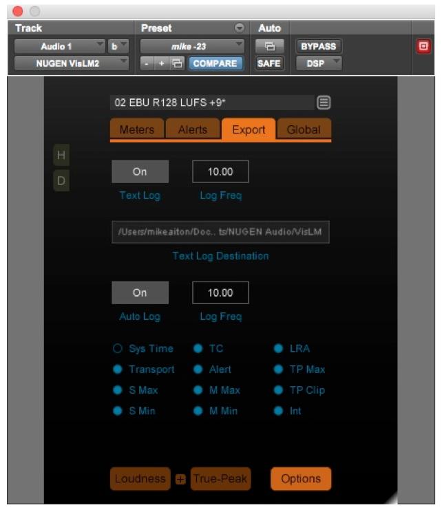 Text Log control of Nugen VisLMH-2
