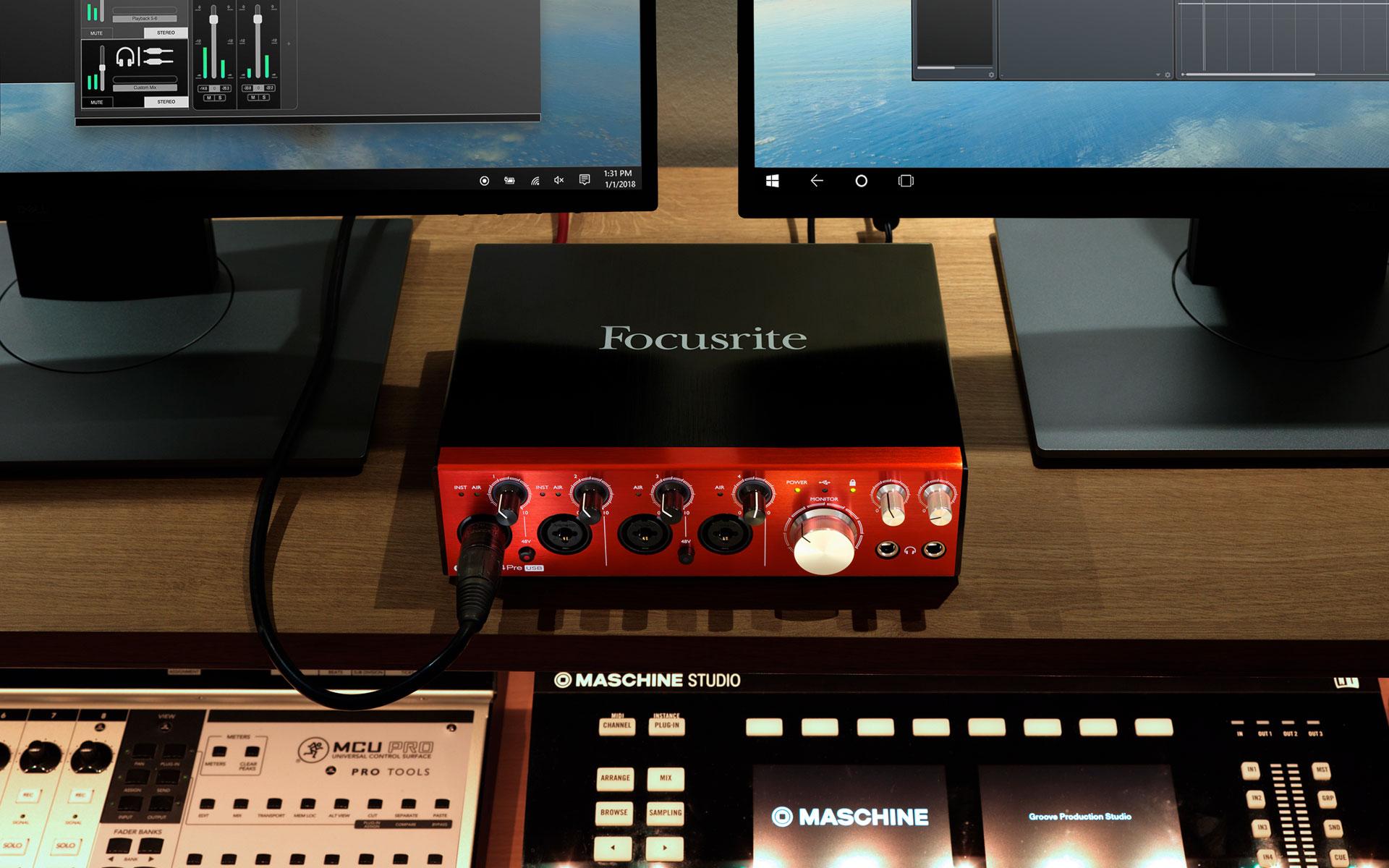 Focusrite Clarett 4Pre USB in situ