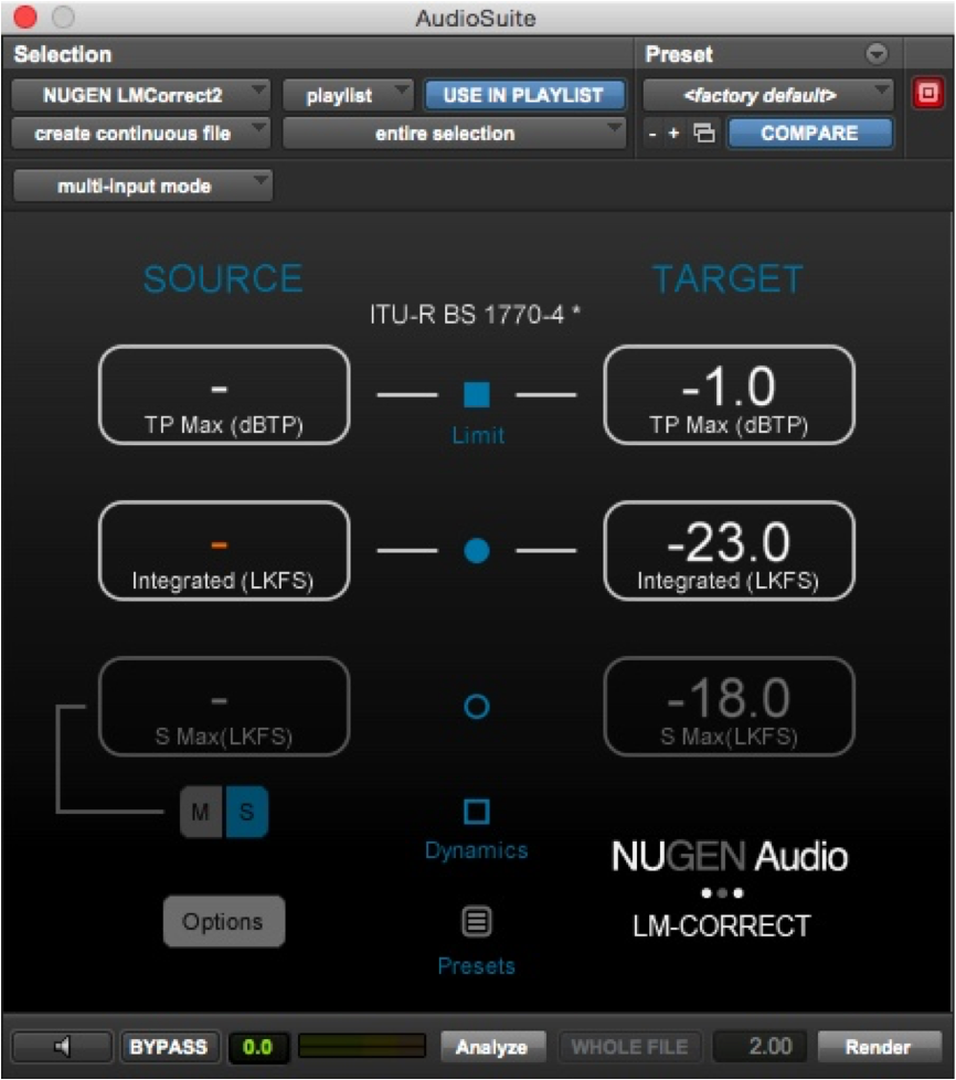 Nugen Audio LM Correct Settings
