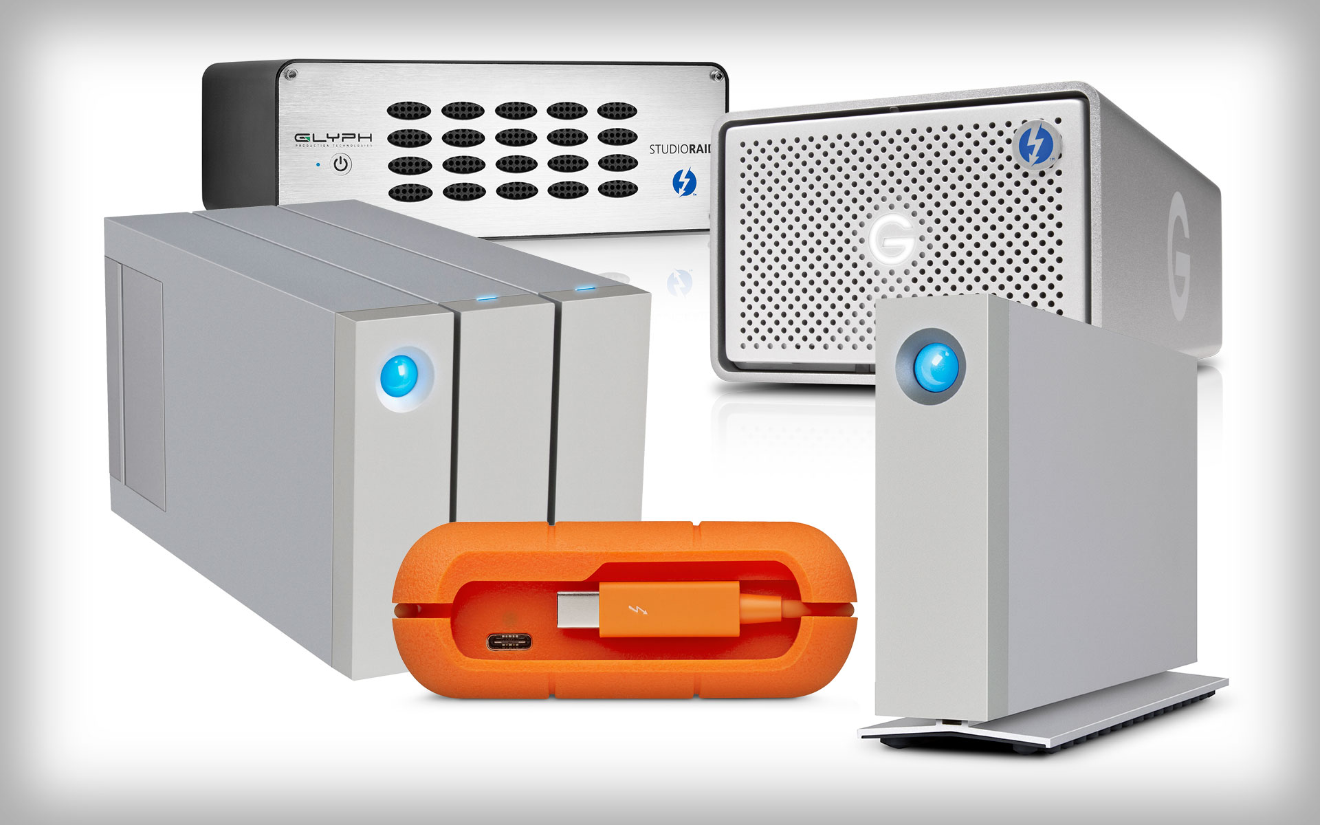 A selection of Thunderbolt Hard Drives