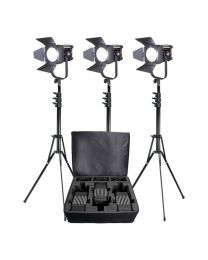 Ledgo D600LK3 3 x 60W LED Fresnel Studio Light Kit