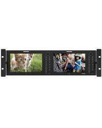 "TV Logic RKM-270A 2 x 7"" HD/SD Multi-Channel LCD Rack Monitor"