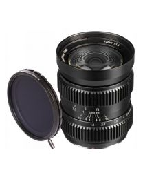 SLR Magic HyperPrime CINE 12mm T1.6 (MFT Mount) + 58-77 Step Up Ring + 77mm Variable ND II Filter