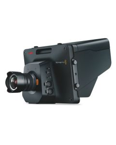 Blackmagic Design Studio Camera 4K Front Right with Lens and hood